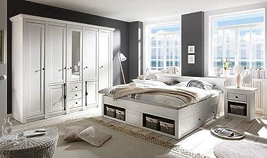 Schlafzimmer, Schlafzimmermöbel, Set, Komplettset, Schlafzimmereinrichtung,  Komplettangebot, Landhausstil, Weiß,