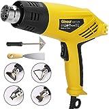 2000W Heat Gun, Ginour Hot Air Gun Kit 230V with 2 Ranges: 350 ℃ -250 L/min 550 ℃ -550 L/min, 4 Nozzles with Scraper, Integra