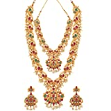 Spargz Bridal Peacock inspired Gold Ethnic Pink & Green Ruby Jewellery Set For Women AINS_642