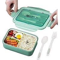 TWBEST Boîte à Déjeuner, en Plastique, Boîte à Repas Vert avec Trois Compartiments et des Couverts (Fourchette et…