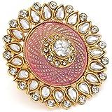 Zaveri Pearls Pastel Pink Meenakari Traditional Kundan Adjustable Finger Ring For Women-ZPFK10174