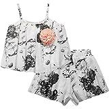 Sooxiwood Little Girls Short Sets Flower Sleeveless