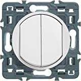 Legrand 099721 Céliane Soft dubbele schakelaar of wisselschakelaar, 10 AX, 250 V, wit