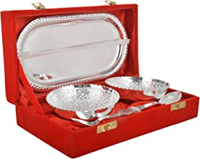 Artistic Handicrafts Brass Bowl, Spoon & Tray Set, 5 Piece, Silver