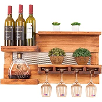 casier à vin Porte-bouteilles à vin en bois mural Cabinet Suspendu Porte-verre à vin Support de ...