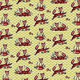 Qualitativ hochwertiger bedruckter Baumwollstoff, rote Füchse, zum kreativen Nähen von Accessoires, Dekoration, Erwachsenen, Kinder und Baby Kleidung, 50 cm