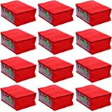 Kuber Industries 12 Piece Non Woven Saree Cover Set, Red (KI99562)