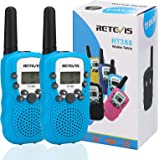 Retevis RT388 Walkie Talkie Niños PMR446 8 Canales LCD Pantalla VOX 10 Tonos de Llamada Bloqueo de Canal Linterna Incorporado