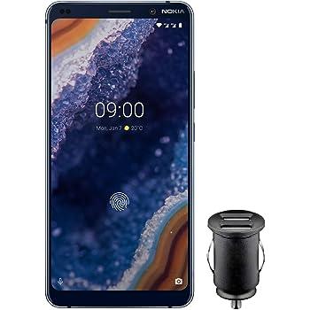 Nokia 9 PureView Dual SIM Smartphone – deutsche Ware (15,21 cm (5,99 Zoll) QHD + pOLED Display, 128 GB ROM, 6 GB RAM, Android 9 Pie) blau, Exklusive Amazon Edition inkl. 12 V KFZ Adapter
