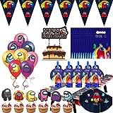 Cumpleaños Decoracion de Among Us, Set de Fiesta de cumpleaños de Among Us, Juego de Vajilla para Fiestas, Incluyendo mantele