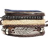 Gespout 4 Pz Moda Retrò Braccialetto per Uomo Boemia Ciondolo Piuma Beaded Bracelet Bigiotteria Donna Bracciali Set Ideale Re
