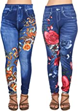 Ziva Fashion Girls/Womens Blue Poly Cotton Printed Ankle Length Slim Fit Leggings/Jeggings (Pack of 2)