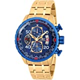 Invicta Men's Aviator 48mm Gold Tone Stainless Steel Chronograph Quartz Watch, Gold (Model: 19173)