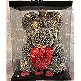Kongqiabona-UK Regalo di San Valentino Rose Teddy Bear Rose Flower Decorazione Artificiale Festa di Compleanno Decorazioni di