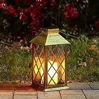 Solar Laterne, Tomshine Solarlaterne mit Kerzen Lichteffekt, Solarlampe für Außen Gartendeko Solar Gartenlaterne in…