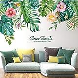 Hakie Stickers Muraux Tropicaux Plante Hawaii Fleurs Feuille Palmier Autocollants Mur Ins Etanche Amovible pour Portes Chambr