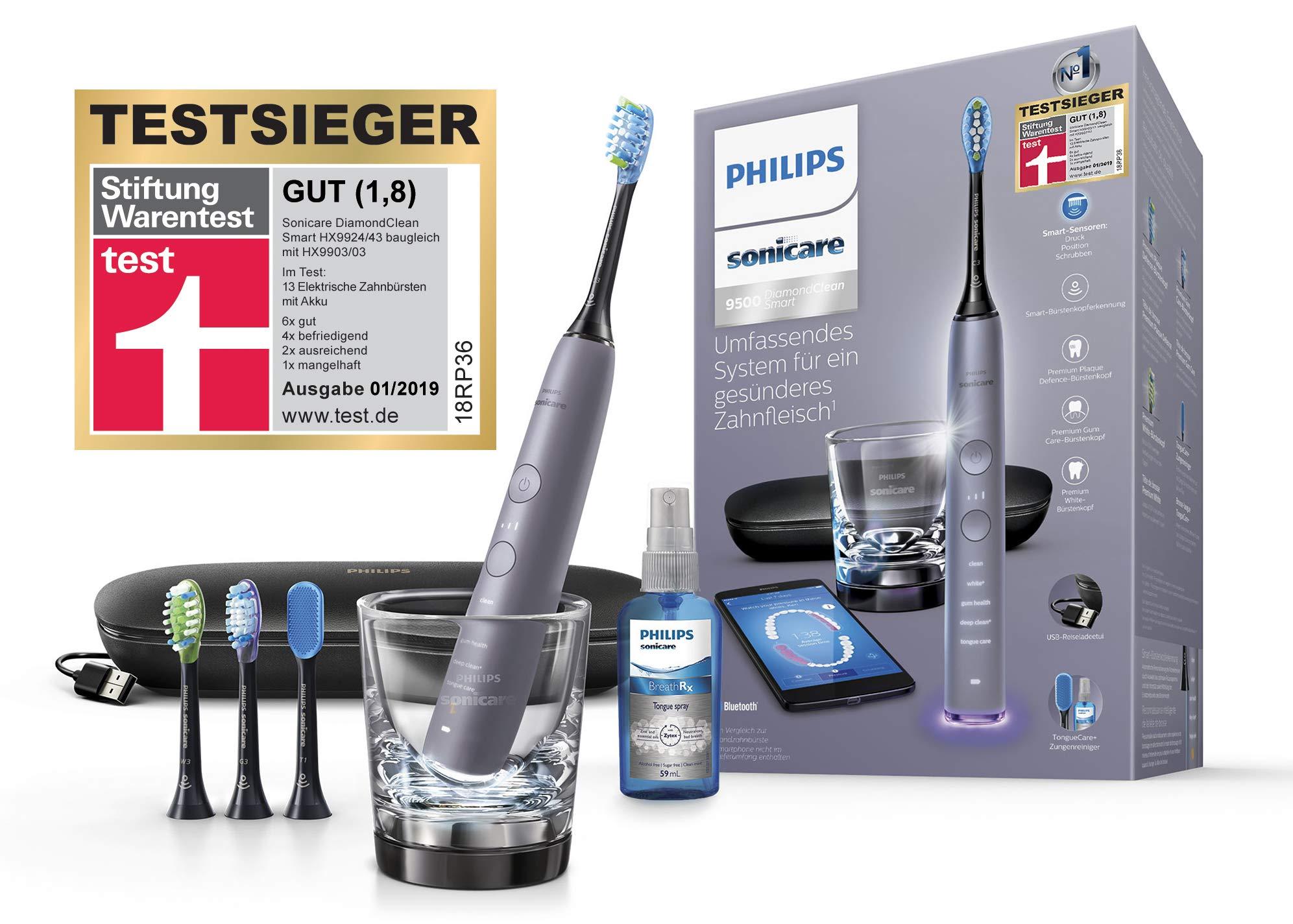 Philips Sonicare HX9924/43 DiamondClean Smart Schallzahnbürste mit 5 Putzprogrammen, 3 Intensitäten, Ladeglas, USB-Reiseetui & 4 Bürstenköpfen – schonendes Putzen dank Drucksensor – Silber
