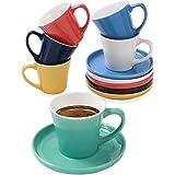 Set de 6 Tasses à Cafe Expresso avec Soucoupes - Céramique - Différentes Couleurs - Avec Boîte Cadeau - 70ml