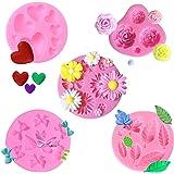 5pcs Moules en Silicone Fondant 3D Rose, Mini Fleur Roses Fleur de Marguerite gâteau Fondant Moules, Bonbons Muffin Gelée Cho
