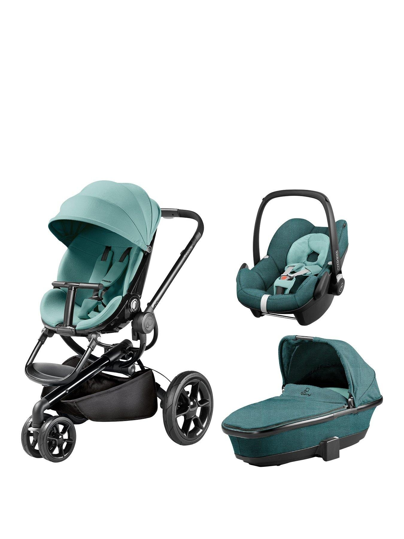 Quinny Quinny Moodd Pushchair, Foldable Carrycot, Pebble Car Seat Package - Novel Nile Quinny  5
