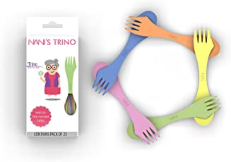 Nani's Trino (Spoon, Fork and Knife Set), India's 1 st Multifunctional Cutlery, Spork, Tableware, Dinnerware & Kitchenware Accessories (Pack of 25) (Multicolor) (Big Size)
