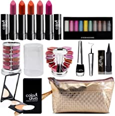 adbeni Combo Makeup Set (10 Color Eyeshadow,Eyeliner Lipgloss Pallet 12 Color,Kajal,Compact Powder,Lipstick-4 Pcs)