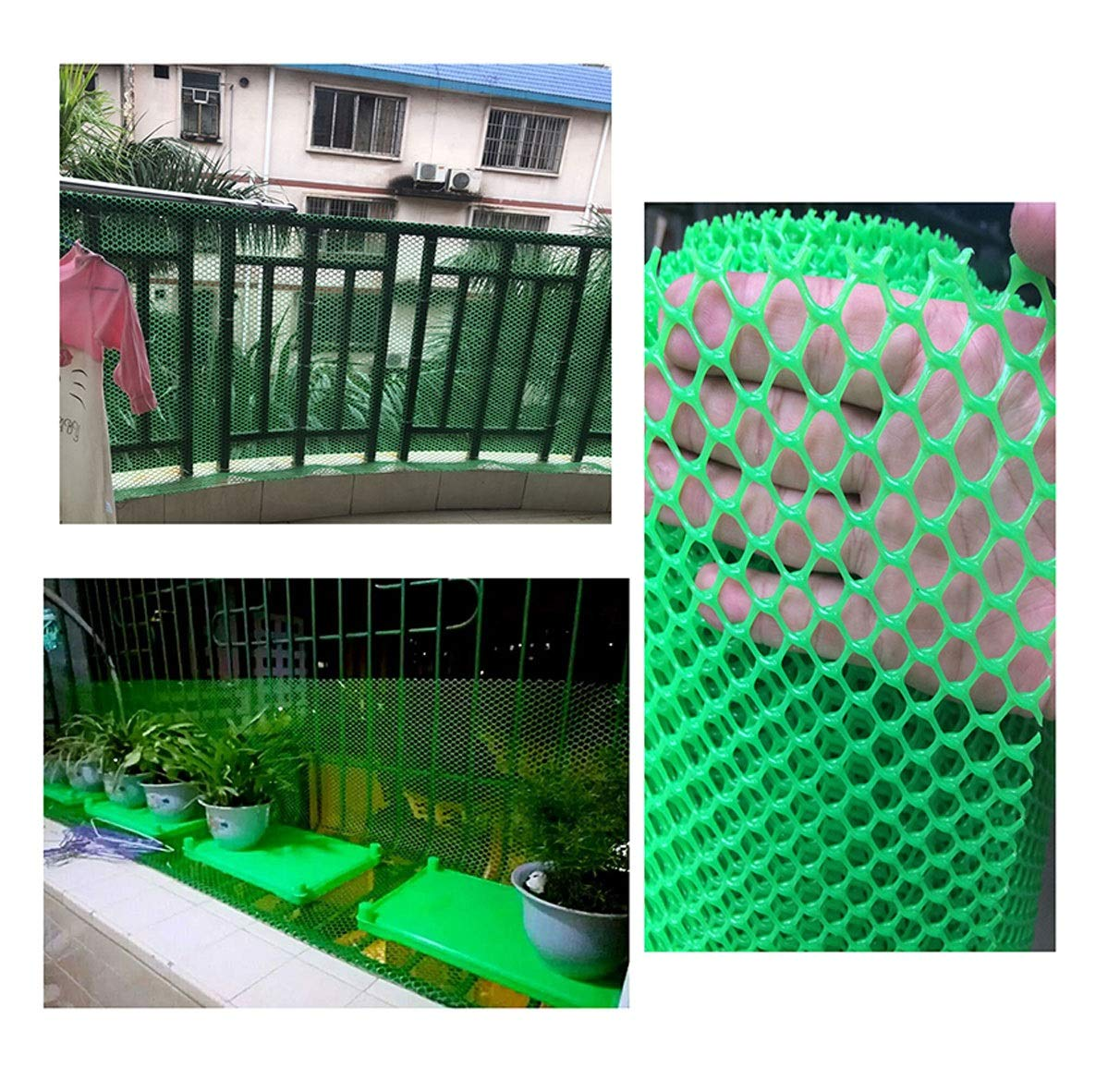 Grass Protection Mesh for Lawn or Car Park Reinforcement Green Plastic Child Safety Net Balcony Protection Net Stairs Anti-fall Net 10m 20m 30m 50m (Size : 2 * 50m) NNFHW ♦ Plastic safety mesh with a diameter of 1.8cm prevents children's head and body from falling through the railing and prevents toys and shoes from falling from the gap between the armrests. It can even be used as a pet safety door. Provide a safe gaming environment for children. ♦ Lawn protective grilles are used to reinforce large areas of flat surfaces, especially parks and lawn areas, slopes and embankments. The turf grid increases the load-bearing capacity of the soil. Effectively prevents the formation of ruts. Suitable for short-term parking, driveways, etc. ♦ Plastic flat net waterproof, wear-resistant, tough, light weight, long service life, non-toxic and tasteless, high transparency. Ideal for interior and exterior of residential buildings such as railings, stairs, cots, hallways, balconies, etc. The honeycomb design does not interfere with your view. 3