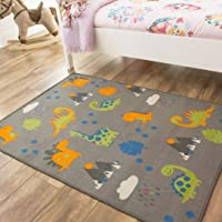 Dinosaur Grey Orange Green Colourful Kids Boys Animal Childrens Floor Play Area Rug Mat 100cm x 140cm (3'3