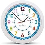 Isabel Iven Barnväggklocka - tyst färgglad barnväggklocka - väggklocka för pojkar och flickor - färgglad lärande klocka för b