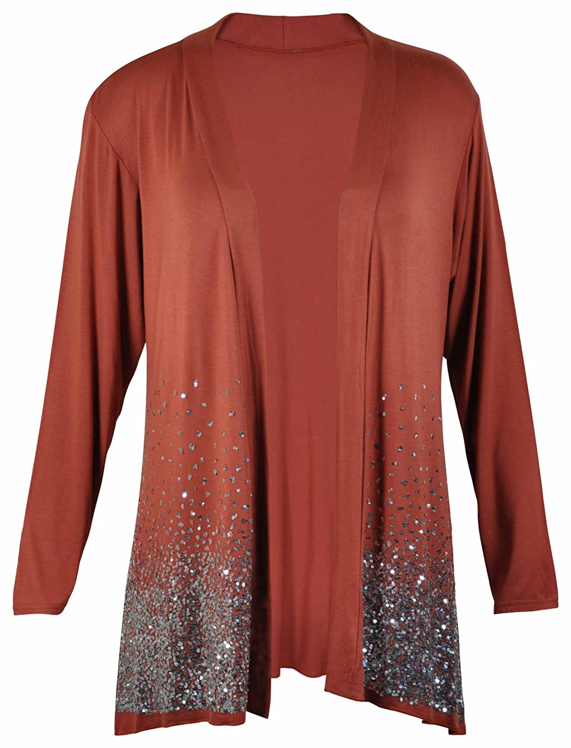 New Ladies Plus Size Sequin Glitter Cardigan Womens Long Sleeved ...