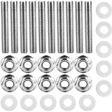 Exhaust Manifolds Bolt,10pcs Stainless Steel Black Header Exhaust Manifold Head Stud Bolt Kit,Silver
