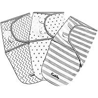 CuddleBug - Copertina Avvolgente Regolabile per Neonati, Motivo a righe, Confezione da 3 (Small/Medium 0-3 mesi)
