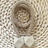 RAMCHA Hexa Polyester and Magnet Curtain Tiebacks Drapery Holdbacks Binding Tie Band for Living Room Decoration, Medium, Beig