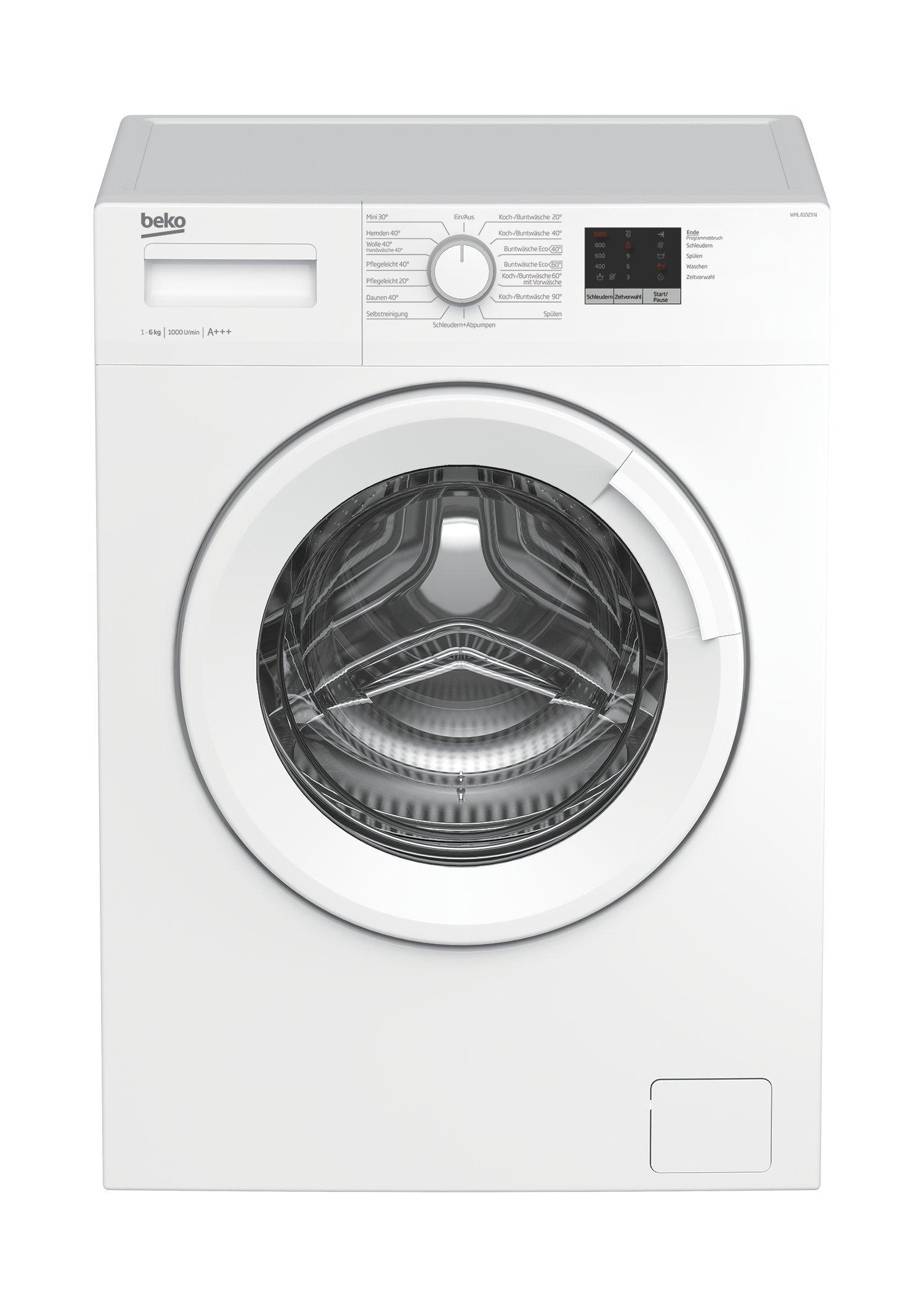 Beko WML 61023 N Waschmaschine Frontlader, 6 kg Füllmenge, Mengenautomatik, weiß