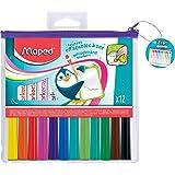 Maped - 12 Feutres Effaçables à Sec Marker'Peps Fun Colors - Feutres Ardoises et Tableaux Blancs - Marqueurs Non Permanents -