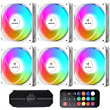upHere Ventilateur PC 120mm télécommande RGB LED Haute Performance pour Boîtier PC D'ordinateur Ultra Silencieux, 6 Pack(NT12