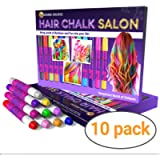 Desire Deluxe Hair Chalk Gift for Girls - 10 Temporary Non-Toxic Easy Washable Hair Dye Colourful, Metallic, Glitter…