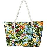 Grande borsa da spiaggia idrorepellente con cerniera Borsa a tracolla Shopper Fiori del Sud Pacifico