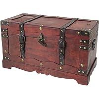 HMF 6400 Coffre au trésor avec cadenas et boîte à trésor en bois France, Boîte de rangement