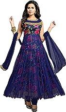 Platinum Women's Georgette Net Semi-Stitched Blue Salwarsuit Material (Blue_Free Size)