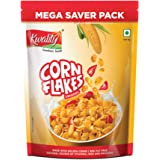 Kwality Corn Flakes, Made with Golden Corns, 99% Fat Free, Natural Source of Vitamin, Iron and Protein (800g, Pack of 1)