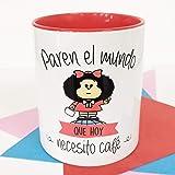 La Mente es Maravillosa - Taza con Frase y dibujo. Regalo original y gracioso (Paren el mundo que hoy necesito un café) Taza