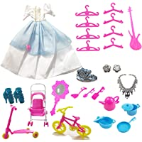 Giftshotspot Dress and Accessories for Toy Doll Set (1 Doll Dress and 24 Doll Accessories in Pack)