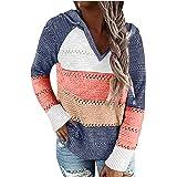 YANFANG Sudadera con Capucha para Mujer de Punto Invierno Casual de Color sólido con Cuello en v Manga Larga suéter Blusa Top