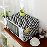 Zollyss Microwave Oven Dust Proof Cover with Side Puch Bag Cotton Linen Kitchen Storage Bags; 85 x 35 cm (Black)