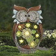 La Jolíe Muse Gartendeko Eule Solar Leuchte, aus Kunstharz Wetterfest, Weihnachten Geschenk Eule, Gartenfigur Ornament für dr
