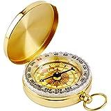 DLAND draagbaar zakhorloge flip-open kompas waterdicht voor kamperen, wandelen en andere outdooractiviteiten. (goud)