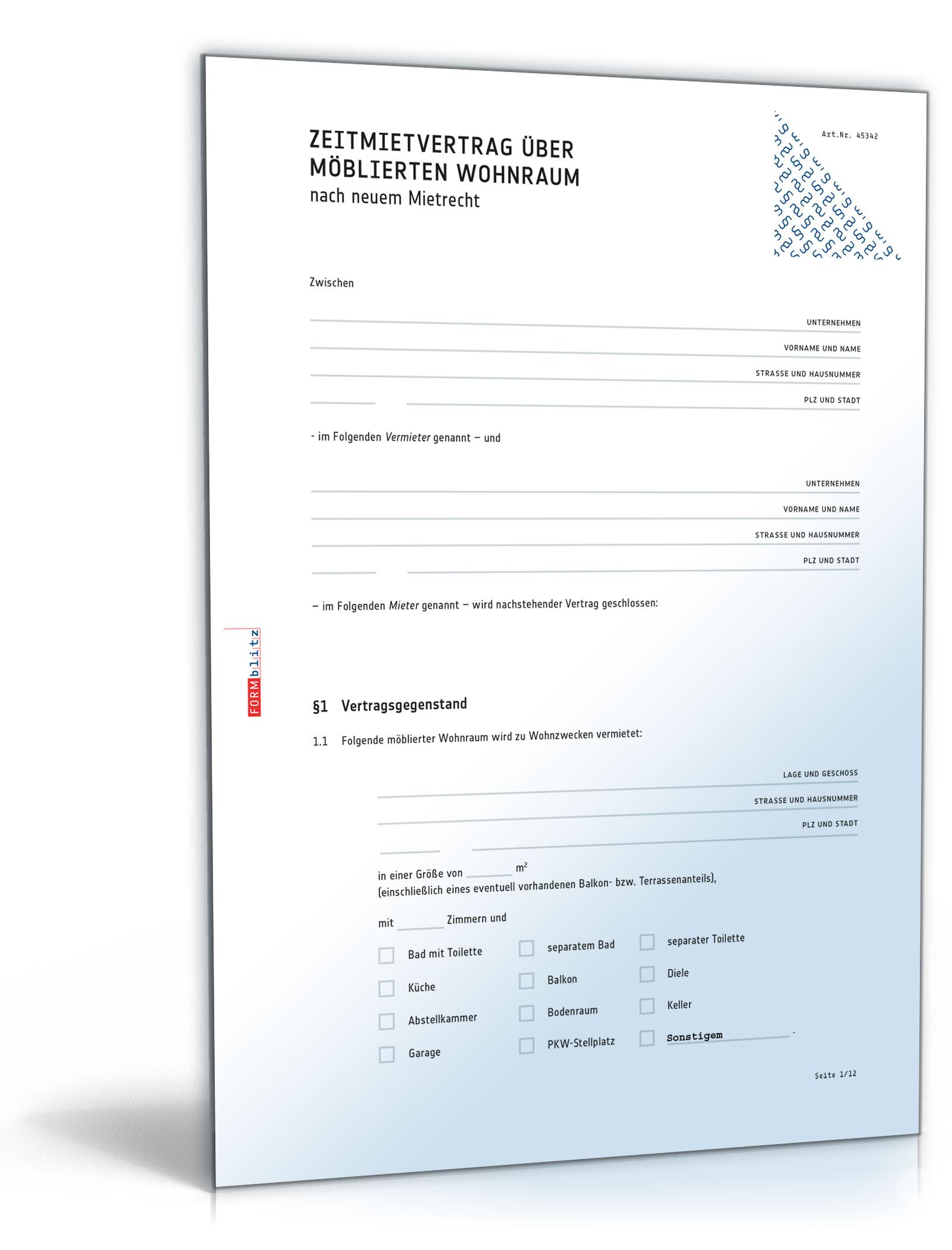 Befristeter Mietvertrag möblierte Wohnung (DOC) [Download]