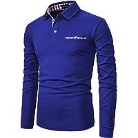 YCUEUST Cotton Reticolo Polo Uomo Manica Lunga Basic Golf Casual T-Shirt