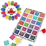 Funxim Stempelkissen Set, Fingerabdruck Stempelkissen Ungiftig Abwaschbar Tinte Stamp Pad für Papier Handwerk Stoff…